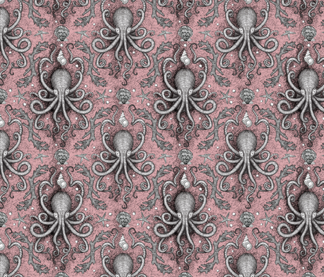 Octopus Damask - Pink fabric by loreli on Spoonflower - custom fabric