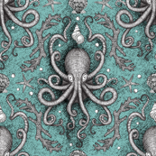 Octopus-Damask - Aqua