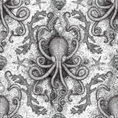 Octopus Damask - White