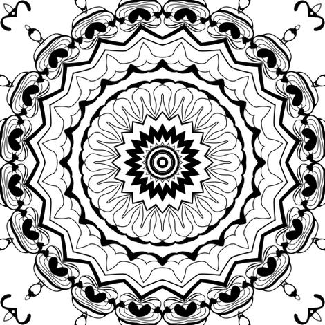 Black and white Nordic pattern . Mandala .  fabric by fuzzyfox on Spoonflower - custom fabric