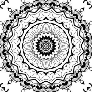 Black and white Nordic pattern . Mandala .