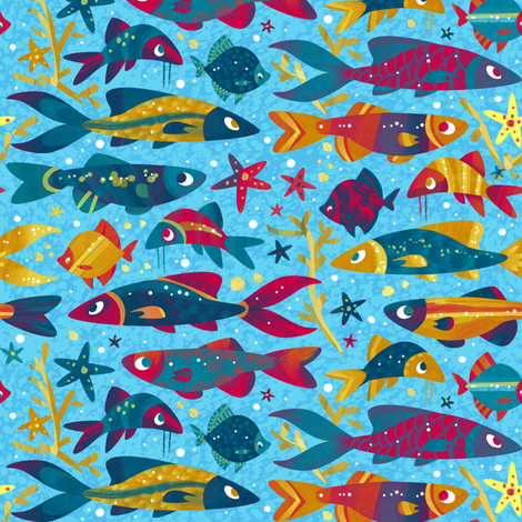 One Fish, Two Fish, Lots of Fish fabric by hollybender on Spoonflower - custom fabric