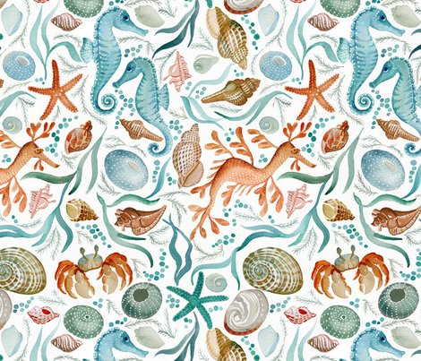 ocean creatures fabric by cjldesigns on Spoonflower - custom fabric