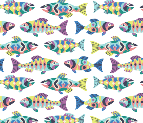patterned salmon  fabric by laura_may_designs on Spoonflower - custom fabric