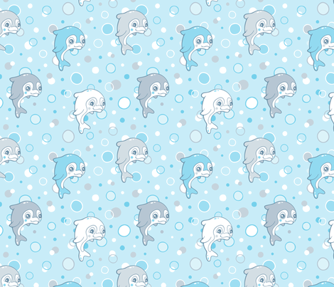 Dolphins and bubbles fabric by nossisel on Spoonflower - custom fabric