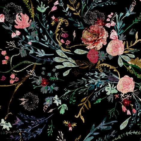 Fable  Floral (black)  fabric by nouveau_bohemian on Spoonflower - custom fabric