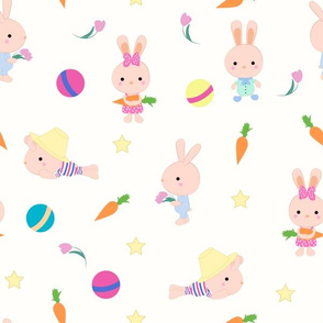 Cute toys rabbits cartoon seamless pattern