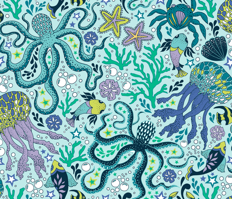 Sea Dreaming fabric by fizah_malik on Spoonflower - custom fabric