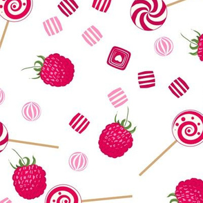 Raspberry sweets seamless pattern