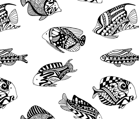Fish black and white fabric by lindi_melse on Spoonflower - custom fabric