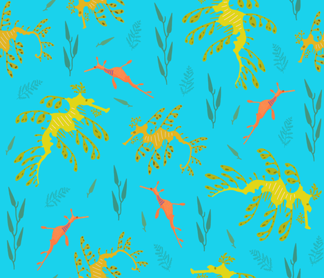 Yellow and orange seadragons on aqua blue fabric by freevam on Spoonflower - custom fabric