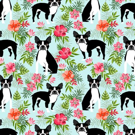 Boston Terrier hawaiian fabric  fabric by petfriendly on Spoonflower - custom fabric