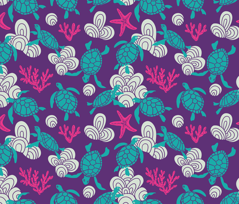 Ocean turtles fabric by alenkakarabanova on Spoonflower - custom fabric