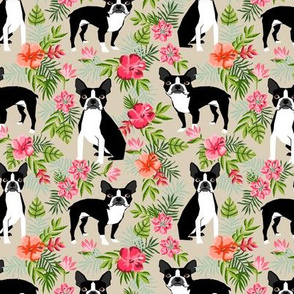 Boston Terrier hawaiian fabric