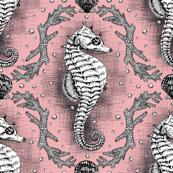Seahorse Damask - Pink