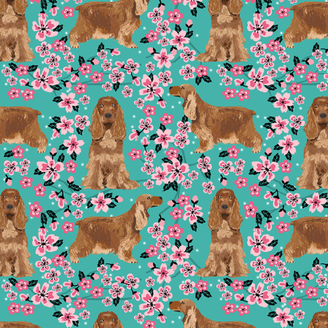 cocker spaniel cherry blossoms turquoise fabric by petfriendly on Spoonflower - custom fabric