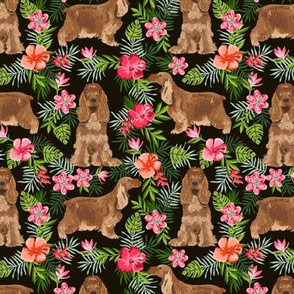 Cocker Spaniel hawaiian fabric black