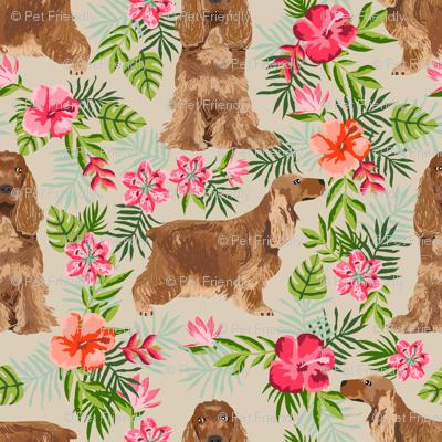 Cocker Spaniel hawaiian fabric sand