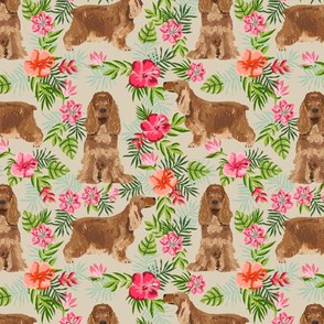 Cocker Spaniel hawaiian fabric sand
