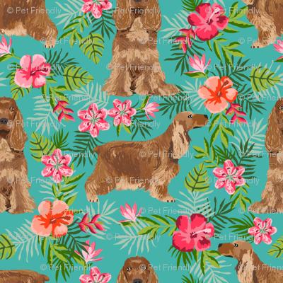 Cocker Spaniel hawaiian fabric turquoise