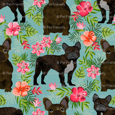 French Bulldog brindle coat hawaiian florals