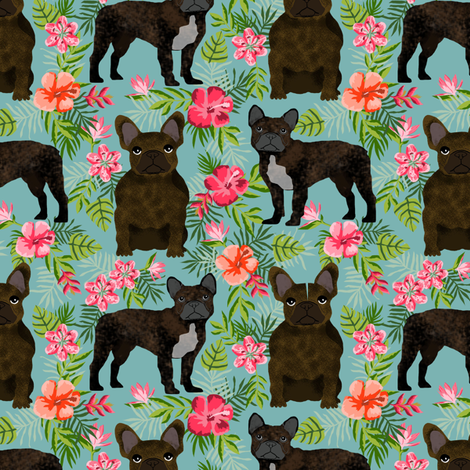 French Bulldog brindle coat hawaiian florals  fabric by petfriendly on Spoonflower - custom fabric
