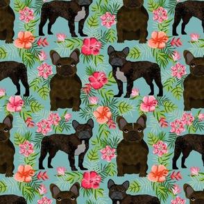 French Bulldog brindle coat hawaiian florals