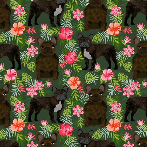 French Bulldog brindle coat hawaiian florals  fabric by petfriendly on Spoonflower - custom fabric