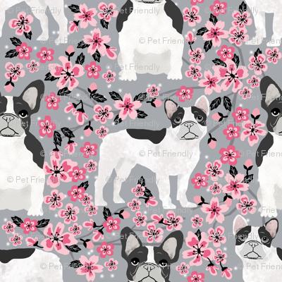 French Bulldog black and white coat cherry blossom fabricgrey