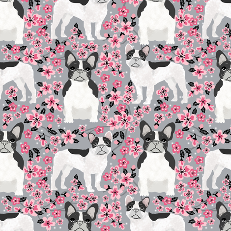 French Bulldog black and white coat cherry blossom fabricgrey fabric by petfriendly on Spoonflower - custom fabric