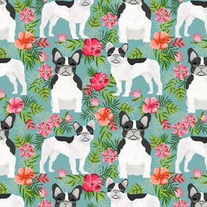 French Bulldog black and white coat hawaiian florals
