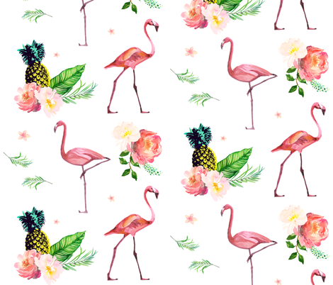 "21"" Flamingo Floral Park fabric by shopcabin on Spoonflower - custom fabric"