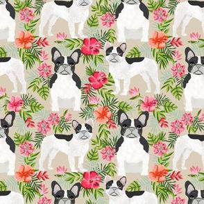 French Bulldog black and white coat hawaiian florals