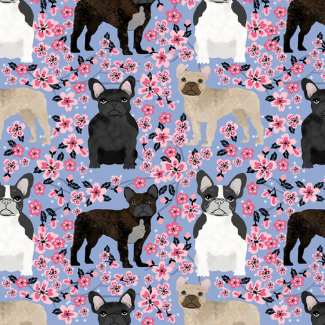 French Bulldog mixed cherry blossom fabric cerulean fabric by petfriendly on Spoonflower - custom fabric