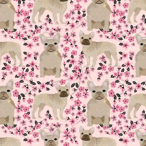 French Bulldog fawn coat cherry blossom fabric pink