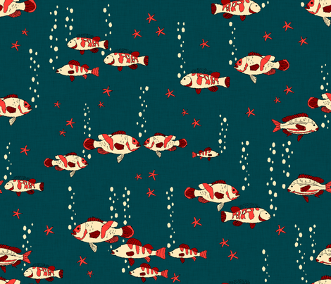 Fish_and_bubble__red_and_blue_ fabric by les_motifs_de_sarah on Spoonflower - custom fabric