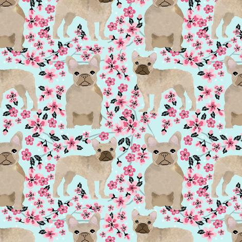 French Bulldog fawn coat cherry blossom fabric fabric by petfriendly on Spoonflower - custom fabric