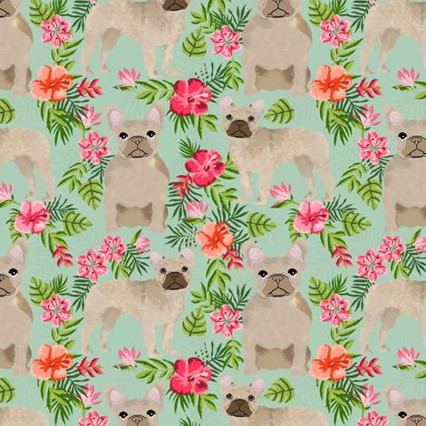 French Bulldog hawaiian floral fawn coat dog fabric fabric by petfriendly on Spoonflower - custom fabric