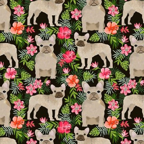 French Bulldog hawaiian floral fawn coat dog fabric