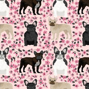 French Bulldog cherry blossom floral mixed coat dog fabric