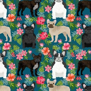 French Bulldog hawaiian floral mixed coat dog fabric