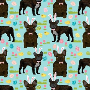 French Bulldog brindle coat Easter fabric