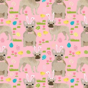 French Bulldog fawn coat Easter fabric pink