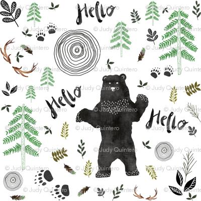 "3.5"" Hello Woodland Watercolor Bear"