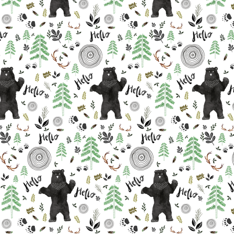 "3.5"" Hello Woodland Watercolor Bear fabric by shopcabin on Spoonflower - custom fabric"