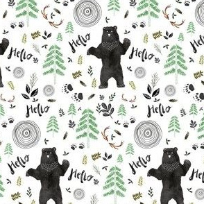 "3.5"" Hello Woodland Watercolor Bear"