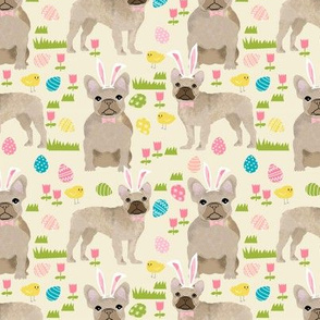 French Bulldog fawn coat Easter fabricyellow