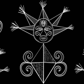 White symbols on black
