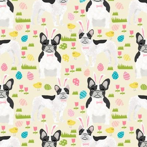 French Bulldog black and white coat Easter fabricyellow