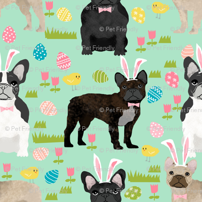 French Bulldog mixed coat Easter fabricmint